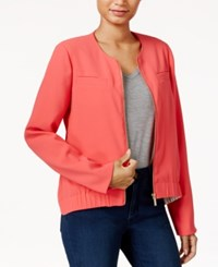 Rachel Roy Collarless Bomber Jacket Only At Macy's Flamingo