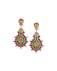 Jose And Maria Barrera Multicolor Crystal Clip On Earrings