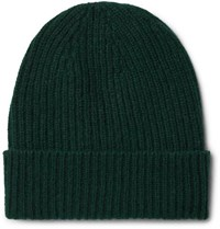 Anderson And Sheppard Ribbed Cashmere Beanie Green