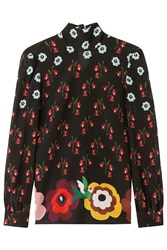 Red Valentino Silk Floral Print Blouse Multicolor