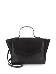 Halston Suede And Leather Tote Bag Black