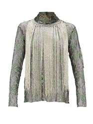 Romance Was Born Stardust Beaded Fringe Metallic Lace Top Green Multi
