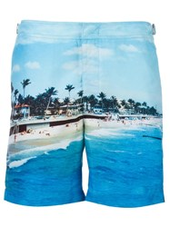 Orlebar Brown Beach Print Swim Shorts Blue