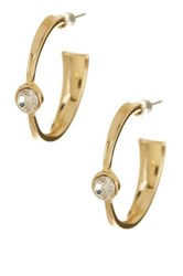 Spring Street Tapered Bezel Set Crystal Hoop Earrings Metallic