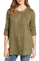 Vince Camuto Women's Two By Collarless Linen Shirt Tuscan Olive