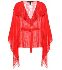 Roberto Cavalli Printed Silk Blend Blouse Red