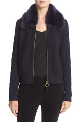 Tory Burch Women's 'Contraire' Faux Fur Collar Cable Knit Sweater Jacket
