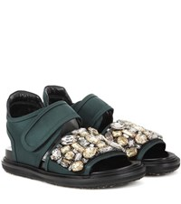 Marni Crystal Embellished Sneakers Green
