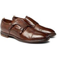 Officine Creative Princeton Burnished Leather Monk Strap Shoes Dark Brown