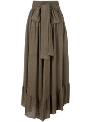 See By Chloe Ruffle Hem Maxi Skirt Brown