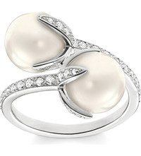 Thomas Sabo Glam And Soul Twisted Blossom Sterling Silver Pave Zirconia And Pearl Open Ring