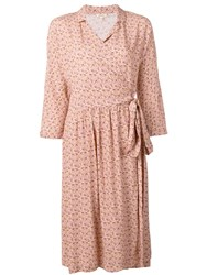 Bellerose Floral Print Wrap Dress Neutrals