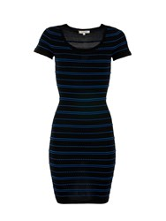Morgan Striped Stretch Knit Bodycon Dress Black