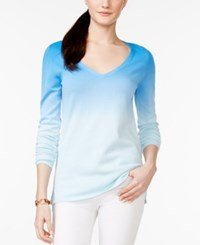 Tommy Hilfiger Gracie Dip Dyed V Neck Sweater Bright Blue