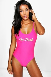 Boohoo Fleek Scoop Neck Slogan Swimsuit Pink