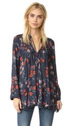 Free People So Fine Smocked Printed Tunic Navy