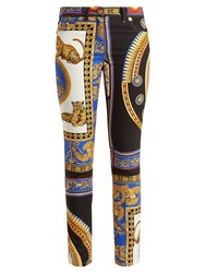 Versace Lovers Baroque Printed Skinny Jeans Black Gold