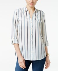 Charter Club Petite Striped Roll Tab Shirt Only At Macy's Smokey Sky Combo