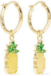 Noir Jewelry Woman 14 Karat Gold Plated Stone And Crystal Hoop Earrings Gold