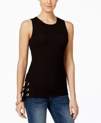 Inc International Concepts Lace Up Tank Top Only At Macy's Deep Black