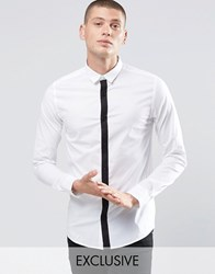 Only And Sons Skinny Shirt With Contrast Placket And Stretch White