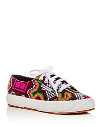 Superga Poly Cross Stitch Lace Up Sneakers Black Multi