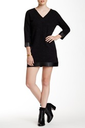 Quinn Briette Wool Blend And Genuine Bonded Leather Dress Black