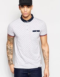 Brave Soul Small Geo Print Polo Shirt Gray