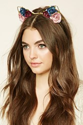 Forever 21 Floral Cat Ears Headband Gold Multi