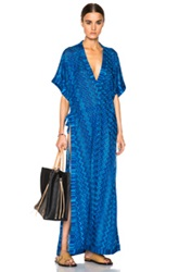 Missoni Mare Maxi Caftan Dress In Blue Metallics Abstract