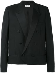 Saint Laurent Double Breasted Jacket Men Silk Cotton Polyester Wool 50 Black