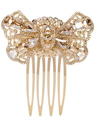 Dolce And Gabbana Crystal Embellished Hair Comb Gold