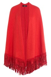 Steffen Schraut Fringed Poncho With Cashmere Red