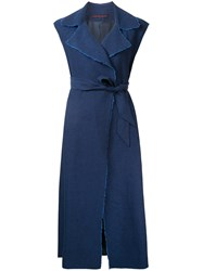 Martin Grant Raw Edge Wrap Dress Blue