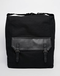 Asos Slouchy Backpack In Black Canvas Black