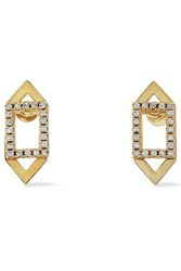 Astrid And Miyu Fitzgerald Gold Plated Crystal Earrings Gold