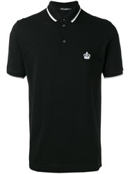 Dolce And Gabbana Embroidered Crown Polo Shirt Black