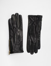 Oasis Zip Leather Gloves Black