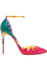 Christian Louboutin Chapito Ho 100 Pvc Trimmed Suede And Leather Pumps Bubblegum