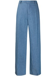 Closed Flared Trousers Blue