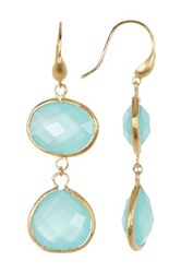 Rivka Friedman 18K Gold Clad Faceted Mint Chalcedony Crystal Double Dangle Earrings Blue