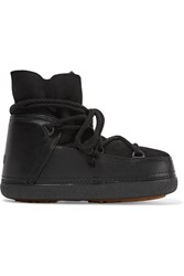 Ikkii Shearling Lined Leather And Suede Boots Black