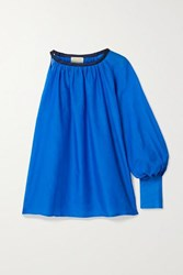 Zeus Dione Galene One Sleeve Linen Trimmed Cotton And Silk Blend Top Blue