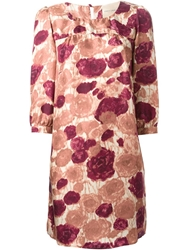 Erika Cavallini Semi Couture 'Leda' Floral Print Dress Pink And Purple