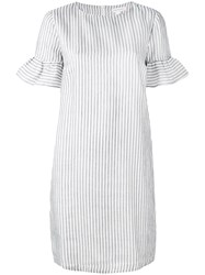 Chinti And Parker Striped Dress Women Silk Cotton Linen Flax M White