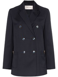 Valentino Double Breasted Wool Jacket Blue