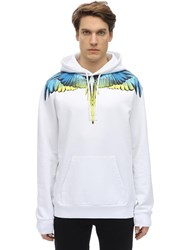 Marcelo Burlon Printed Wings Cotton Jersey Hoodie White