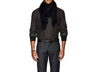 Loro Piana Men's Solid Cashmere Flannel Scarf Navy Blue