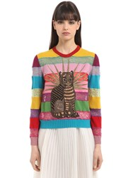 Gucci Cat Embroidered Lace And Wool Sweater