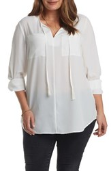 Tart Plus Size Women's Murphy Split Neck Top Gardenia